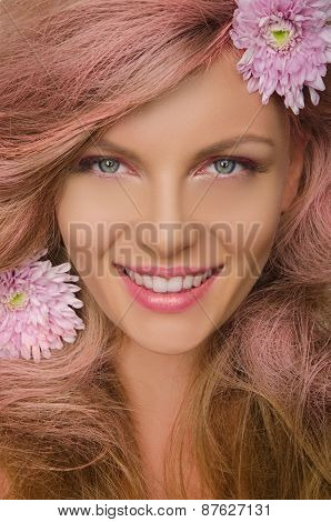 Beautiful Woman With Pink Hair And Flowers