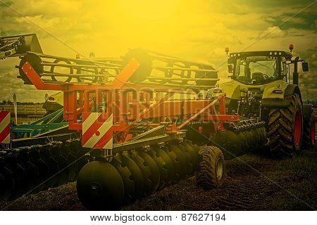 Agricultural Equipment In Sunset Light. Detail 3