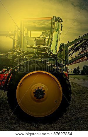 Agricultural Equipment In Sunset Light. Detail 17