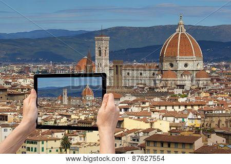 Historic Center Of Florence In Tablet (tuscany, Italy)