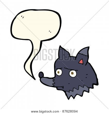 cartoon unhappy dog with speech bubble