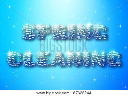 Typographic poster with spring cleaning bubble text