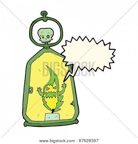 cartoon spooky lantern with speech bubble