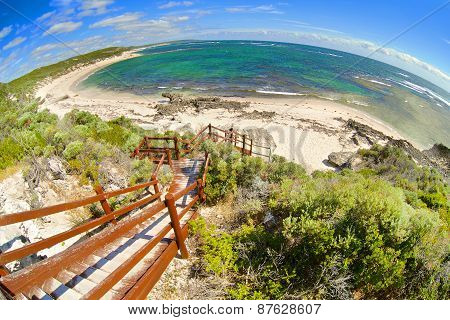 Fish-eye view on tropical beach and ocean