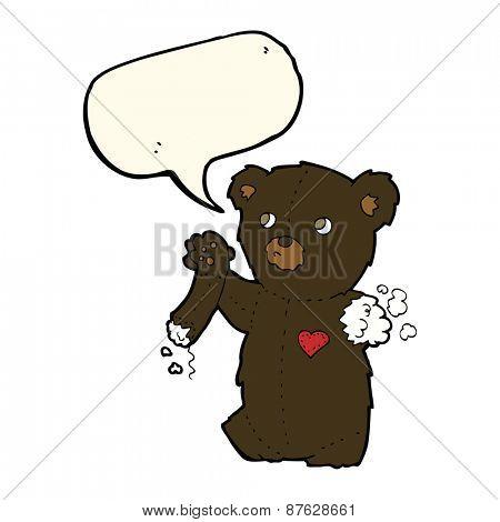 cartoon teddy black bear with torn arm with speech bubble