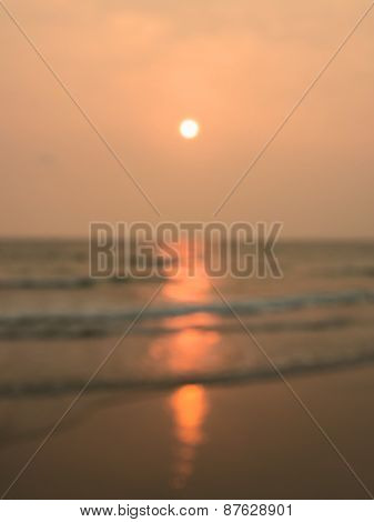 Sea And Sunset Blurred Background
