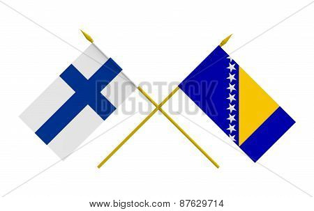 Flags, Bosnia And Herzegovina And Finland