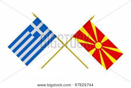 Flags, Greece And Macedonia