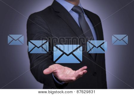 Email Concept on Business Hand