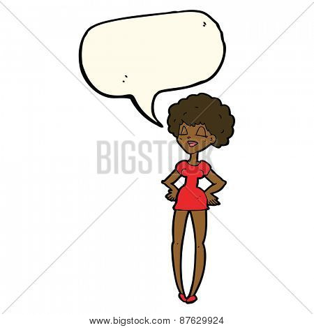 cartoon happy woman with hands on hips with speech bubble