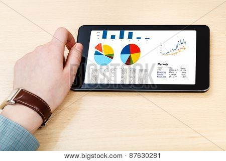 Businessman Hand Hold Tablet With Business Analytics