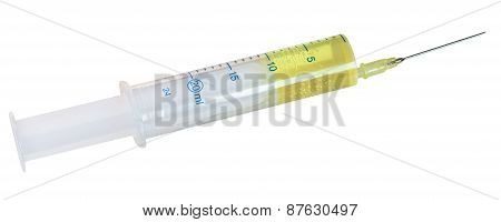 20 Ml Syringe Filled With Yellow Infusion Isolated