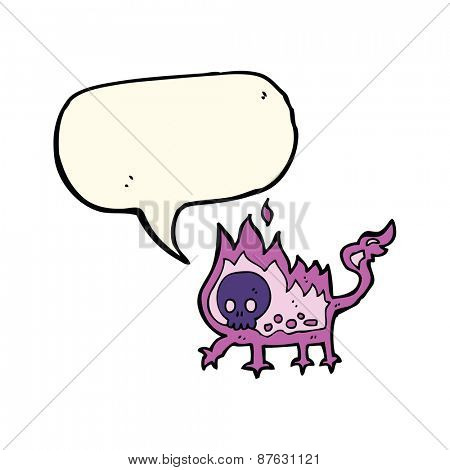 cartoon little imp with speech bubble