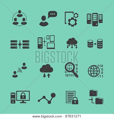 Big Data  analysis  black icons set,  data analytics cloud computing
