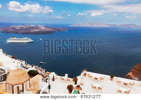 Thira and caldera of Santorini volcano