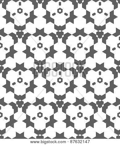 Dark Monochrome Color Abstract Geometric Seamless Pattern.