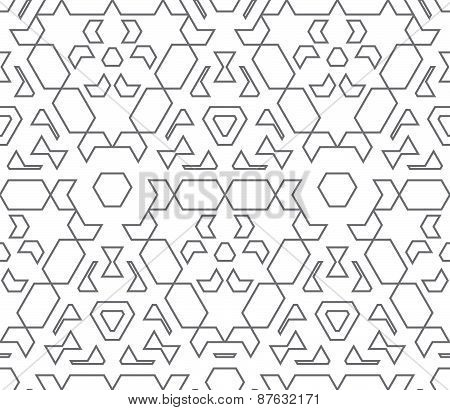 Dark Monochrome Color Outline Abstract Geometric Seamless Pattern.