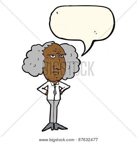 cartoon big hair lecturer man with speech bubble