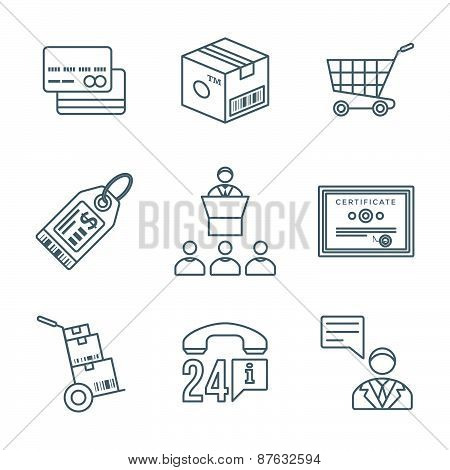 Various Dark Color Outline Business Distribution Marketing Process Icons Set.