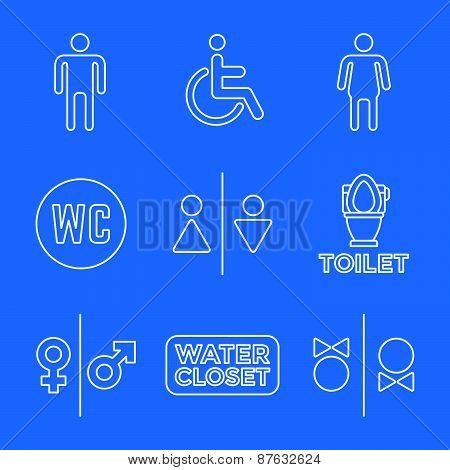 Various White Color Line Water Closet Signs Toilet Restroom Icons Set.