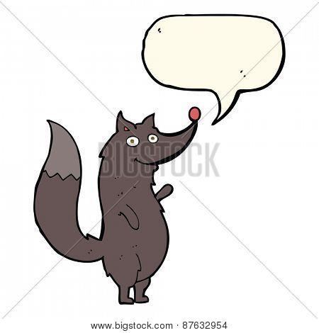 cartoon waving wolf with speech bubble