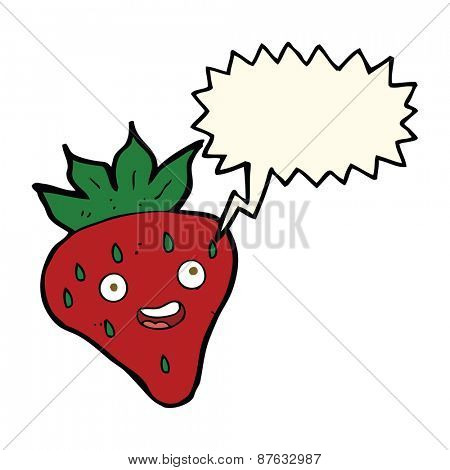 cartoon happy strawberry with speech bubble