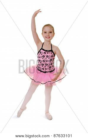 Child Ballet Dancer Does Tendu In Costume