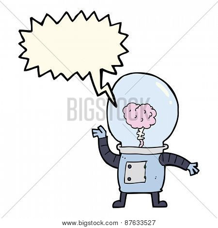 cartoon robot cyborg with speech bubble