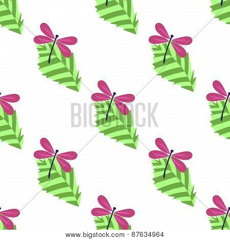 Seamless Pattern With Leaves And Dragonflies