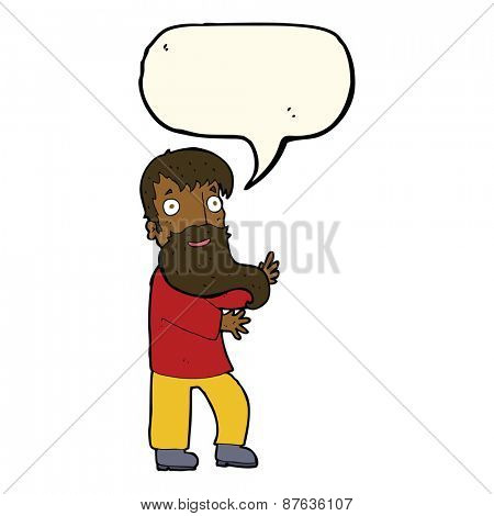 cartoon excited bearded man with speech bubble