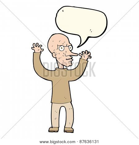 cartoon mean man with speech bubble