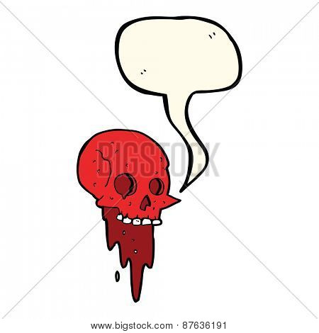 gross halloween skull cartoon with speech bubble