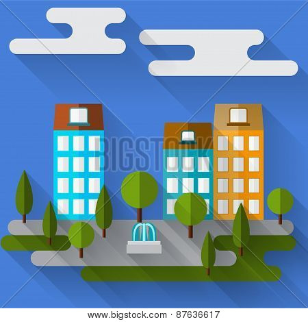 Bright Illustration With Cartoon Graphic City Houses With Long Shadows