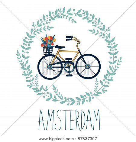 Cute Amsterdam card with tulips in bycicle basket in floral wreath