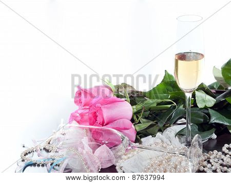 Roses And Glass Of Wine