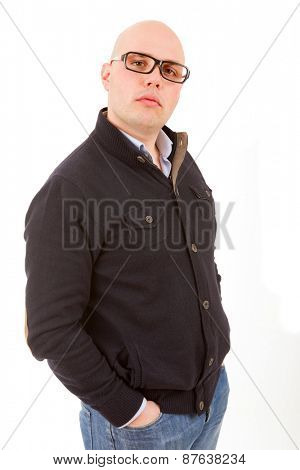 young happy casual man thinking, isolated on white