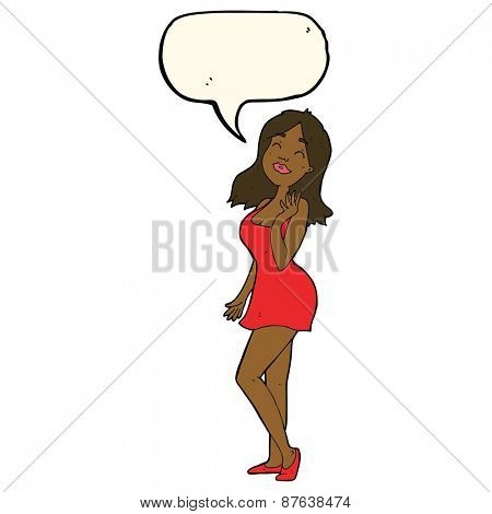 cartoon pretty woman in cocktail dress with speech bubble