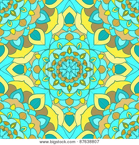 Bright blended ornamental floral abstract seamless background with many details