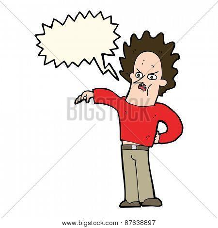 cartoon nasty boy with speech bubble