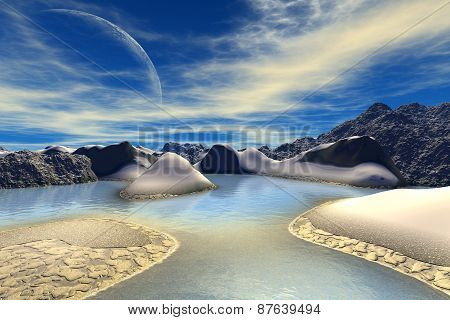 3D rendered fantasy alien planet. Rocks and sky