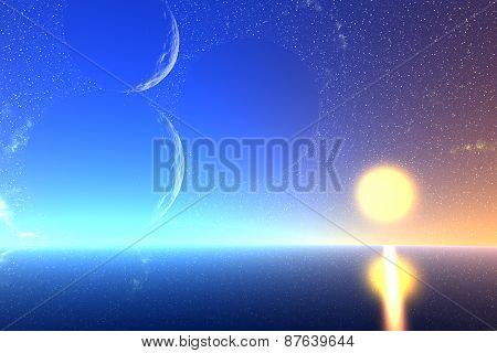 3D Rendered Fantasy Alien Planet. Sea