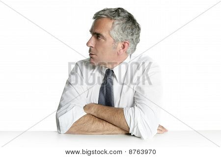 Businessman Senior Profile Relaxed Sit Portrait