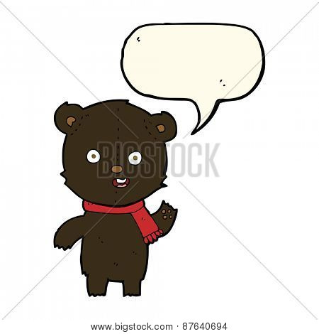 cartoon waving black bear cub with scarf with speech bubble