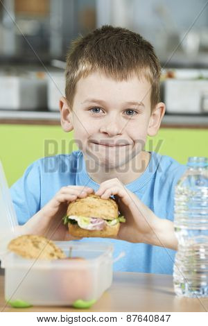 Male Pupil Sitting At Table In School Cafeteria Eating Healthy Packed Lunch