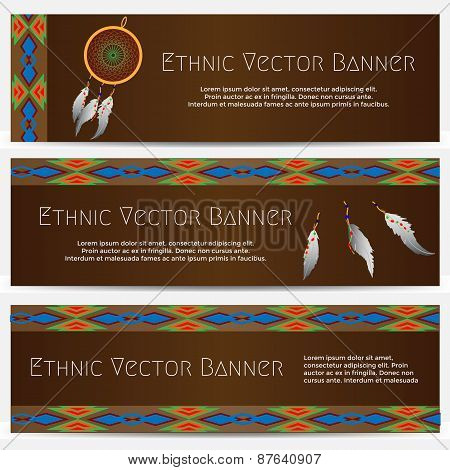 Ethnic Banners with Dream Catcher
