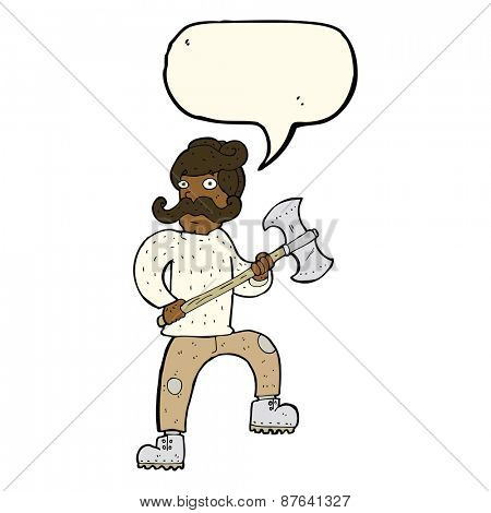cartoon man with axe with speech bubble