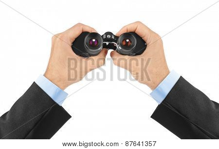Hands with binoculars isolated on white background