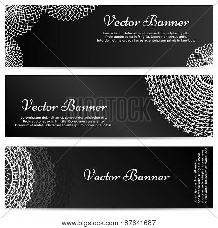 Lacework Ornamental Banners Horizontal Set Isolated on Black Background