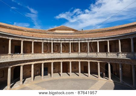 Central Courtyard in Alhambra palace at Granada Spain - architecture background