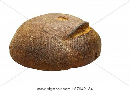 Hearth Bread Round On A White Background.